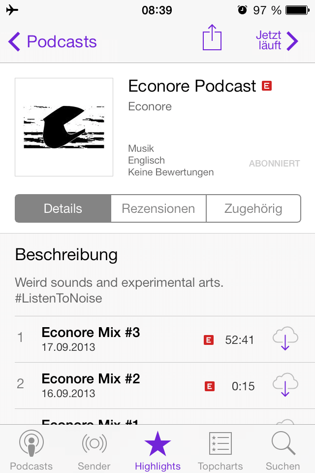 Screenshot of Econore Podcast on iPhone